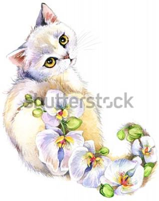Nálepka Kočka. Květinový akvarel ilustrace.