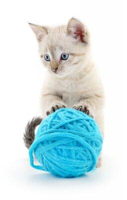 Nálepka Kočka s míčem příze