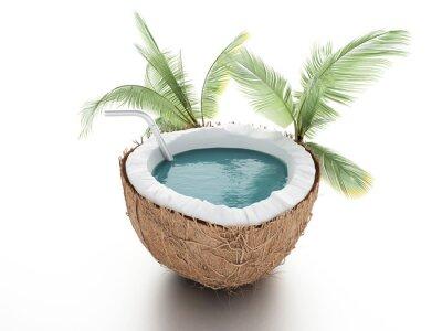 Nálepka kokosový ráj. letní koncepce na bílém pozadí