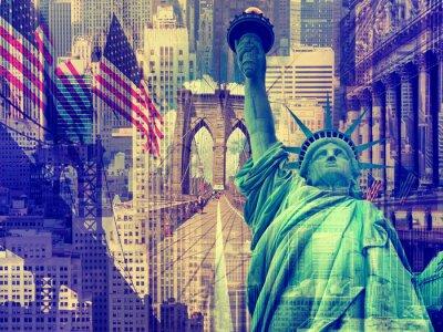 Nálepka Koláž obsahující několik památek New York