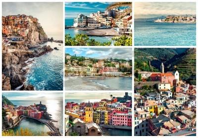 Nálepka Koláž z nejznámějších památek v Itálii. Italská Riviera-Janov, Manarola, Vernazza, Bogliasco, Santa Margherita.