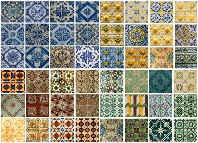 Nálepka Koláž z různých barevných vzorů dlaždic v Portugalsku