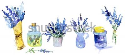 Nálepka Kolekce květů levandule na bílém pozadí. Vintage květiny sada. Byliny ze zahrady. Byliny izolovaných na bílém. Byliny. zahradní zahradní design. květinářství, dekorace rostlin. Izolované bílé.