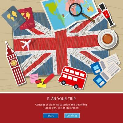 Nálepka Koncept cestování nebo studovat angličtinu.