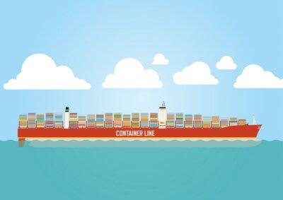 Nálepka Kontejnerová loď naloženo s nákladem