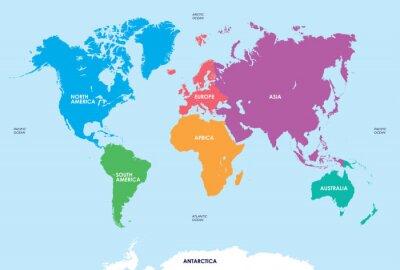 Nálepka Kontinentech světa, Map