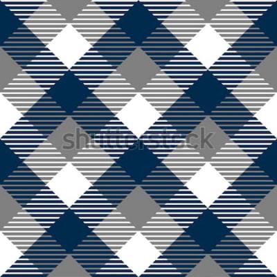 Nálepka Kostkovaný gingham textilie bezešvé vzor v modré šedé a bílé, vektor