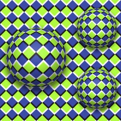 Nálepka Koule valí. Abstraktní vektorové bezešvé vzor s optickou iluzi pohybu.