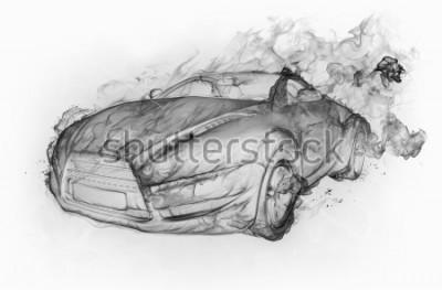 Nálepka Kouř auto izolované na bílém pozadí. Originální design auta.