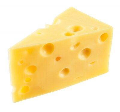 Nálepka Kousek sýra izolované. S ořezovou cestou.