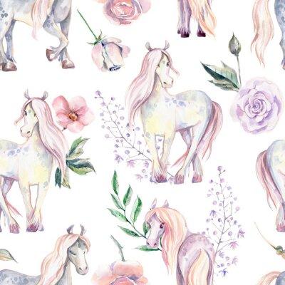 Kouzelný poník bezešvé vzor. Akvarel ilustrace, krásné