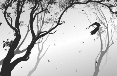 Nálepka krajina s létající sova