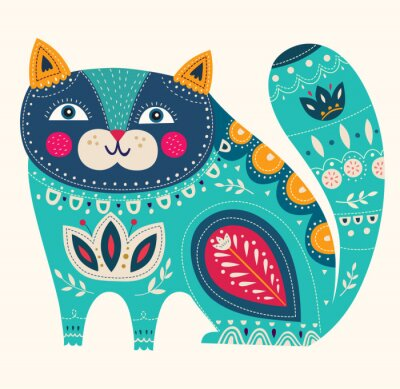 Nálepka Krásná dekorativní vektor kočka v modré barvě