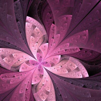 Nálepka Krásná diagonální fraktální květiny nebo motýla v vitráž