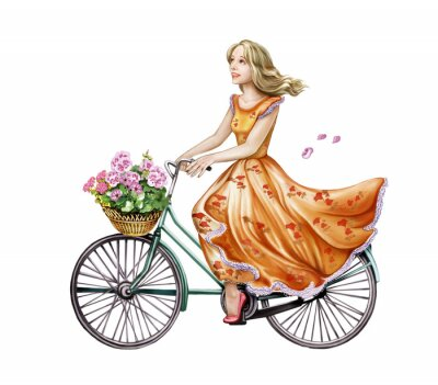 Nálepka krásná dívka v šatech na kole