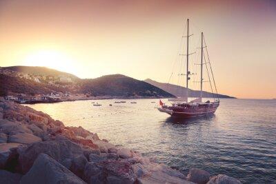 Nálepka krásná krajina s velkým plachetnic