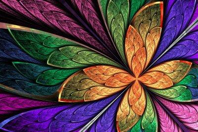 Nálepka Krásná vícebarevný fraktální květiny nebo motýla v mořeného gl