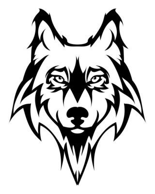 Nálepka Krásná vlk tattoo.Vector vlčí hlavou jako designový prvek na izolované pozadí