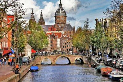 Nálepka krásné Amsterdam kanály