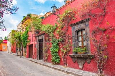 Nálepka Krásné ulice a barevné fasády San Miguel de Allende v Guanajuato, Mexiko