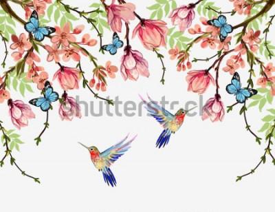Nálepka Krásné vektorové květinové letní vzorek pozadí s tropickými japonskými květinami, wistárie, magnólie, motýli, magnólie. Ideální pro tapety, pozadí webových stránek, povrchové textury, textil.