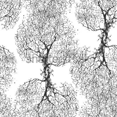 Nálepka Krásné větve strom bez listí. Bezešvá textura. Opakovaný vzor. Podzimní strom. Dobré původní zázemí pro váš blog.