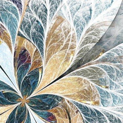 Nálepka Krásný květinový vzor v Vitráž stylu. Žlutá a zelená palety.