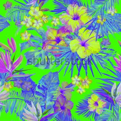 Nálepka Krásný obratník s malováním květin ibišek a rajský pták. Roztomilý malované tropické ilustrace s plumeria, palmový list a banánové listy. Zelené neonové barvy tropické pozadí.