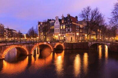 Nálepka Krásný výhled na Amsterdam kanály s mostem a typické holandské