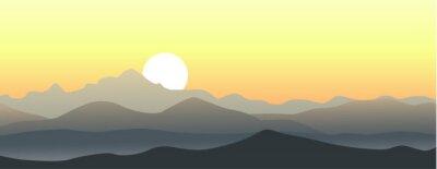 Nálepka Krásný západ slunce v horách. Horizontální vektorové krajina.