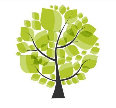 Nálepka Krásný zelený strom na bílém pozadí vektorové ilustrace.