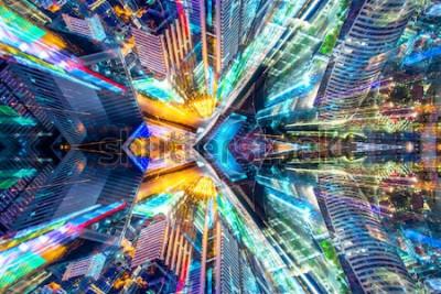 Nálepka Kreativní grafické sci fi abstraktní moderní město pozadí.