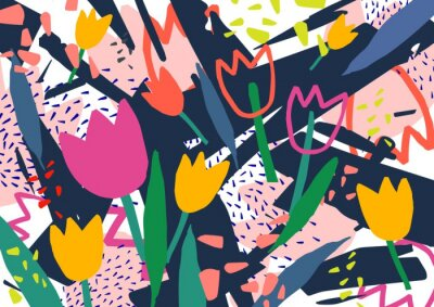 Nálepka Kreativní horizontální pozadí s květinami tulipánu a barevné abstraktní skvrny a čmáranice. Světlé barevné dekorativní pozadí. Moderní umělecké vektorové ilustrace ve stylu současného umění.