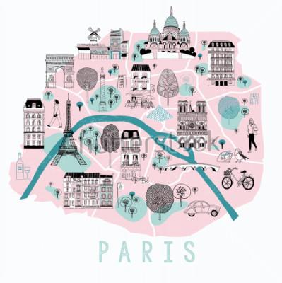 Nálepka Kreslená mapa Paříže s legendními ikonami. Návrh tisku