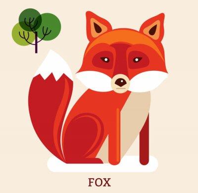Nálepka Kreslené ilustrace s roztomilou liškou