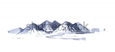 Nálepka Kreslení hory akvarel