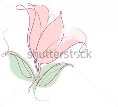 Nálepka Kreslení vektorové grafiky s květinovými vzory s tulipány pro design. Květinový květ přírodní design. Grafika, skica kreslení. tulipán.