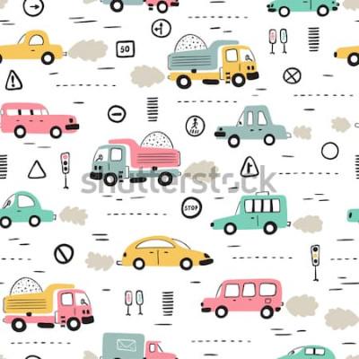 Nálepka Kreslený dopravní zázemí pro děti. Vektorové bezešvé vzor s doodle autíčka a dopravní značky