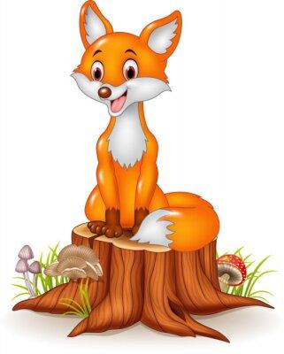 Nálepka Kreslený film šťastné liška sedící na pařezu