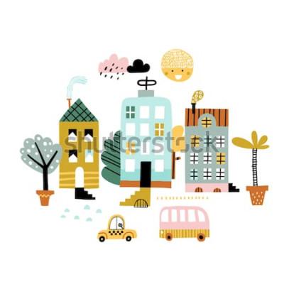 Nálepka Kreslený město tisk. Dětinské vektorové ilustrace s mrakodrap, budovy a auta. Design pro plakát, karta, taška a tričko, obal. Pastelové barvy. Skandinávský styl.