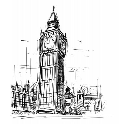 Nálepka Kreslený nákres kreslení ilustrace Westminster paláce, Big Ben Elizabeth hodiny věž v Londýně, Anglie, Spojené království.
