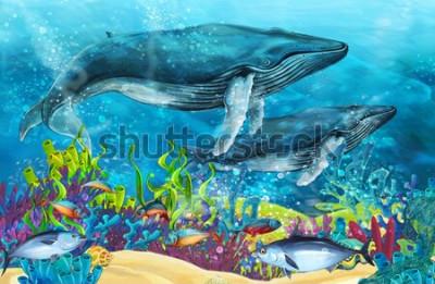 Nálepka kreslený scéna s velrybou poblíž korálový útes - ilustrace pro děti