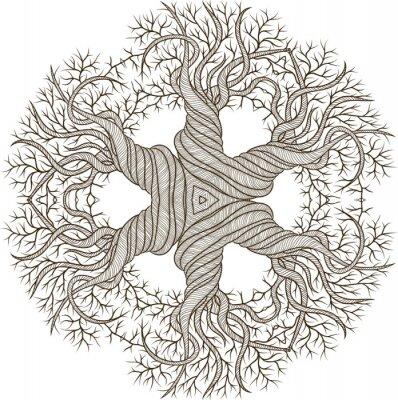 Nálepka Kruhový ornament z abstraktní strom s curling barel.