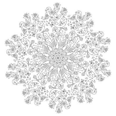 Nálepka Kruhový vzor s ptáky a květiny v Doodle stylu