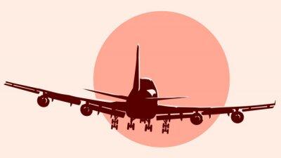 Nálepka Kulaté logo ilustrace létání letadlem.