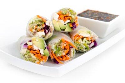 Nálepka kuřecí a rýžový papír avokádo jarní závitky