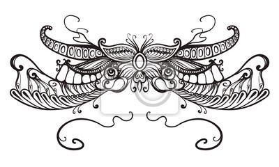 květinový ornament, typografie, tetování