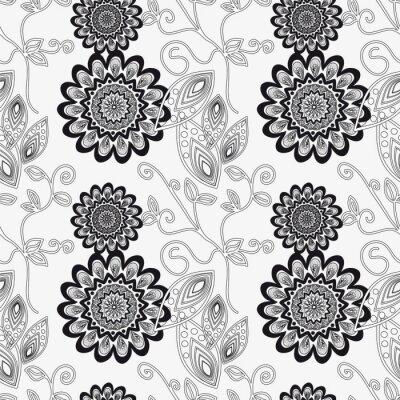 Nálepka Květinový ornament v černé a bílé.