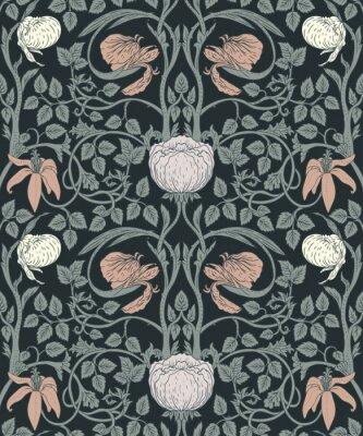 Nálepka Květinový ročník bezešvé vzor pro retro tapety. Okouzlené vinobraní květiny. Hnutí umění a řemesel se inspirovalo.