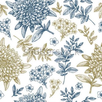 Nálepka Květinový vzor bezešvé. Lineární náčrtky květinových prvků. Vintage design látky. Vektorové ilustrace